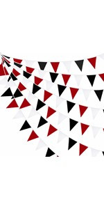 Red Black White Banner Graduation Party Decorations Triangle Flag Fabric Banner Pennant Garland
