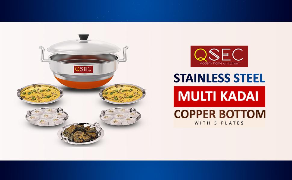 Multi Kadai for kitchen and making Idli dhokla patra momos rice sabji mutter vegetables.