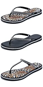 Womens Comfortable Flip Flops Sandals with Rhinestone Casual Summer Beach Leopard Flat Shoes