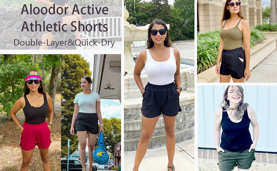 Women's Summer Shorts Casual Elastic Waist Pocketed Athletic Short Pants Solid Color