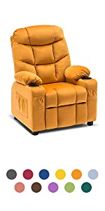 Kids Recliner Chair with Cup Holders for Boys and Girls Room