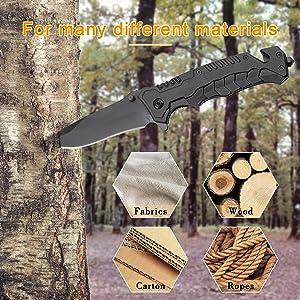 Engraved Black Pocket Knife