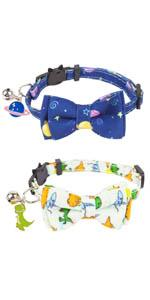 universe and dinosaur cat collar with bowtie