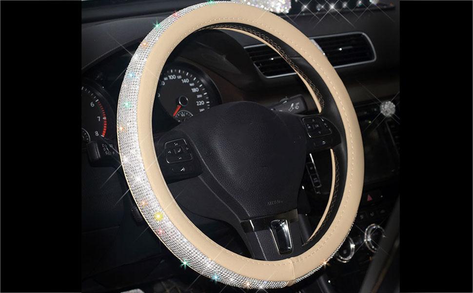 Beige Steering wheel cover