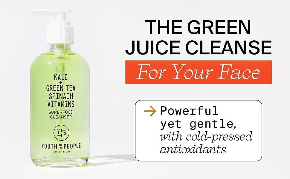 Umivanje lica zelenim sokom, superhrana s zelenim čajem od kelja, hladno prešani antioksidanti