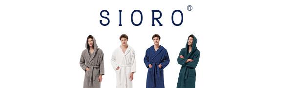 SIORO Terry cotton hooded bathrobe for men