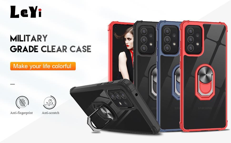 LeYi Funda para Samsung Galaxy A52 con [2 Unidades] Cristal Templado