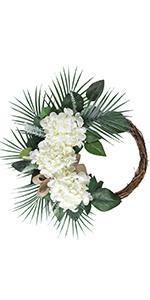 white hydrangea flower wreath