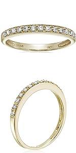 Vir Jewel 1/6 cttw Petite Diamond Wedding Band in 10K Yellow Gold with Milgrain