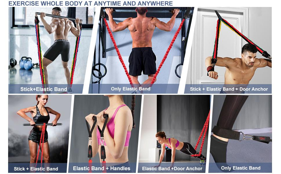 Exercise bar and bands set