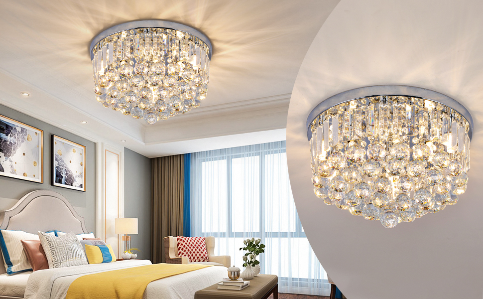 Modern mini Crystal Chandelier ,K9 Crystal Chrome Chandeliers,Living Dining Room Hallway Fixture