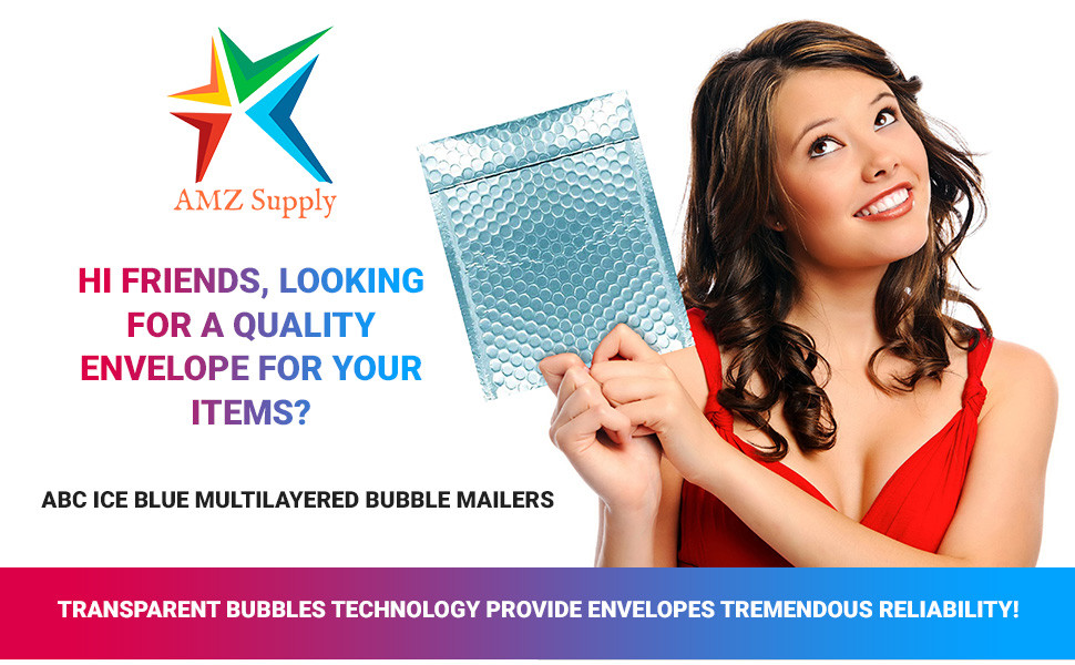 AMZ Ice Blue Bubble Mailers Envelope 10 Bubble Mailer Small Packaging Shipping Bags Small Book Mail