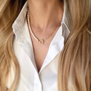 Pearl paperclip paper clip chain toggle necklace chunky stacking necklace