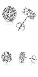 Vir Jewels 1 cttw Round Diamond Stud Earrings in .925 Sterling Silver With Rhodium