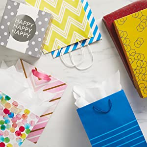Colorful gift bags and gift boxes for birthdays, baby showers and special occasions