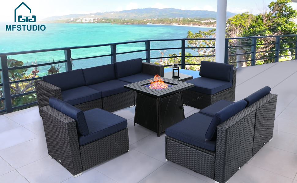 patio sofa set with fire table