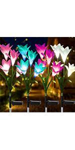 4Pcs Solar Flower Lights