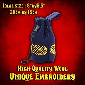 Drawstring medieval bag lady knight embroidered wool pouch LARP GN SCA WATER CARRIER