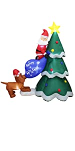 6 Foot Inflatable Santa Claus Climbing on Christmas Tree Chased by Dog Puppy