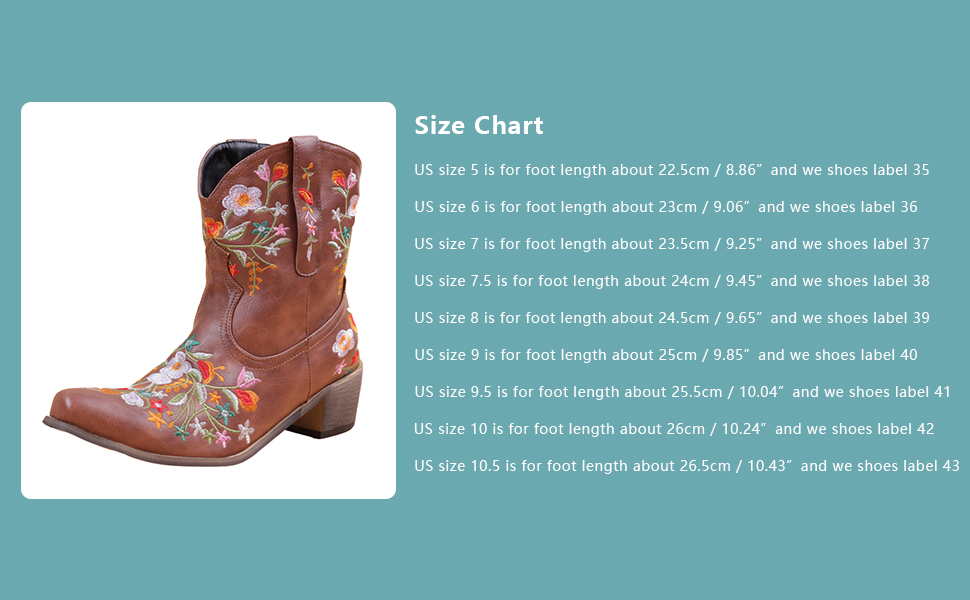 Women Retro Ankle Boots Embroidered Cowgirl Western Short Boots