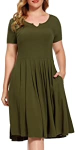 Neckline V-notchgreat Pleated Flared Swing A-Line Dresses