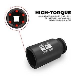 "1/2"" Drive x 30 mm Deep 6 PT Impact Socket/Spindle Axle Nut Impact Socket Set"