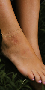 DEARMAY Gold Anklets for Women 18K Gold Filled Initial Anklet