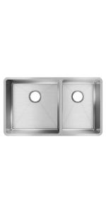 ECTRU32179RT double bowl sink