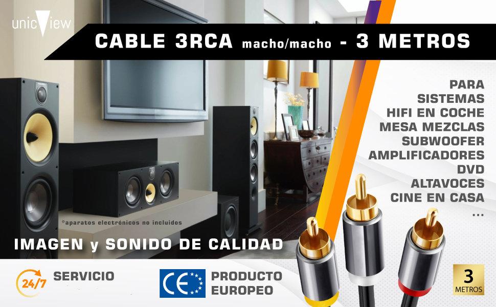 cable rca 3 metros, cable rca bañado en oro, cable rca para amplificador