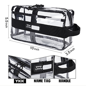 large clear toiletry bag with smooth YKK zipper strong handle see through bag for makeup