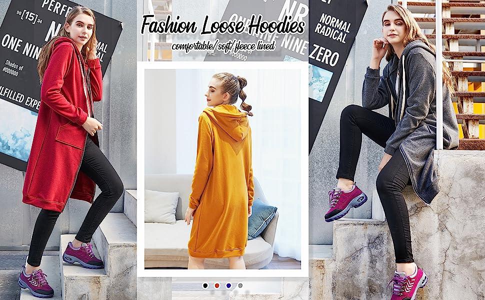 Womens Casual Zip up Hoodies Long Fleece Tunic Sweatshirts Jackets Fashion Cardigan Sweaters