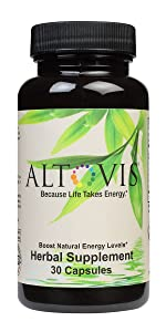 Bottle of Altovis energy supplments brown bottle with natural green logo 30 boost energy