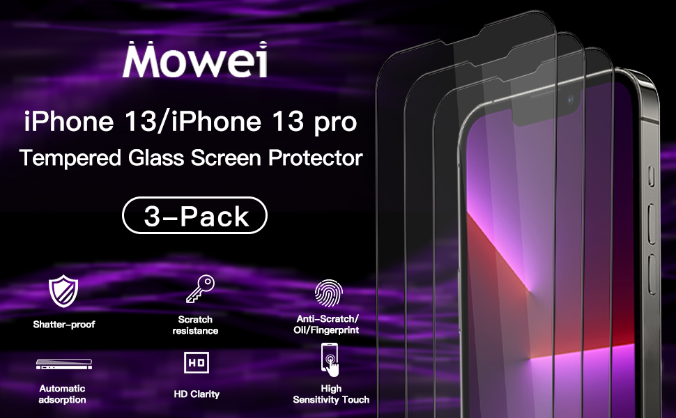 MOWEI iPhone 13 / iPhone 13 pro Tempered Glass Screen Protector