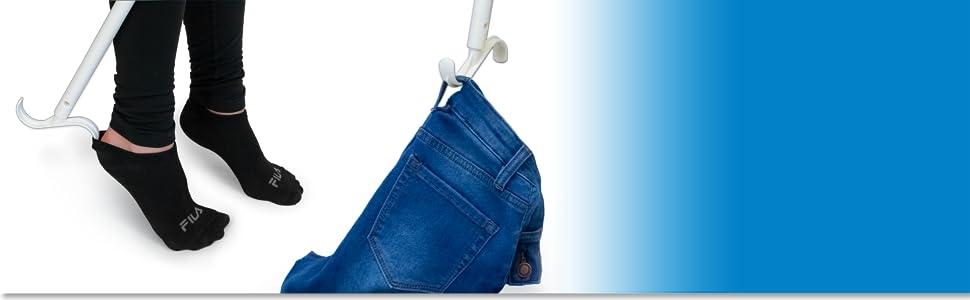 Dressing stick hook picking up jeans off the floor amp; removing socks