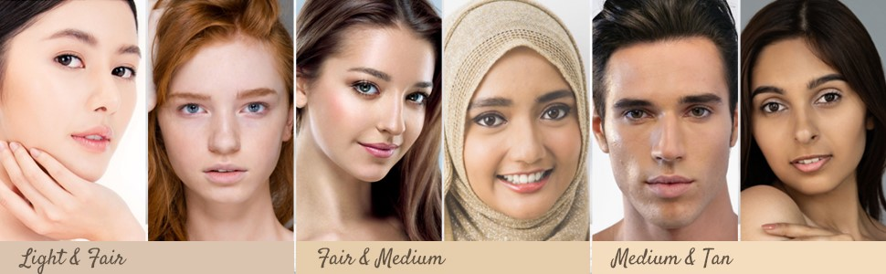 Models wearing shades of BB Stick, Light & Fair, Fair & Medium, Medium & Tan