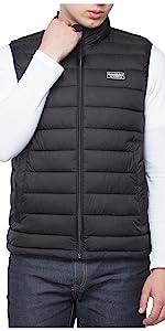 rokka and rolla mens black packable puffer gilet vest