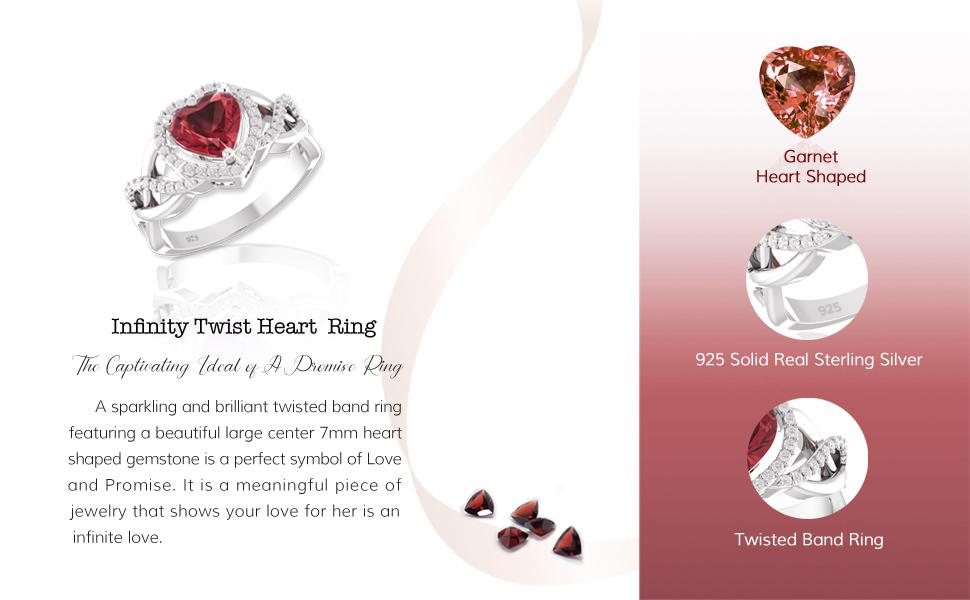 Belinda Jewelz 925 Solid Real Sterling Silver Heart Shaped Gemstone Twisted Band Ring