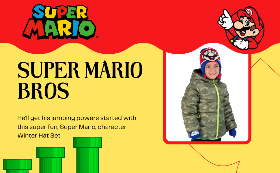Mario  kids scarf  toddler scarf  toddler boy winter hat toddler hat and glove set boy