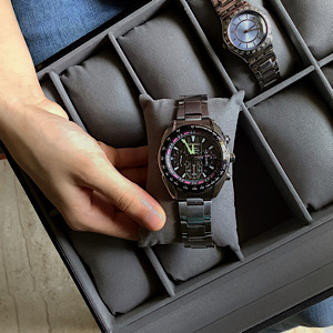 Black Pearl-12 Slots Luxury Watch Box in PU Leather and Suede and Transparent Top