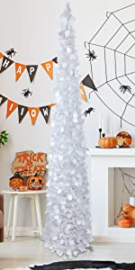 Joy-Leo 5 Feet Pop Up White Halloween Christmas Tree with Sequins
