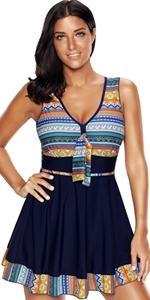 bohemia pattern trim swimming bathing suits swim dress for women tummy control swimwear swimsuit