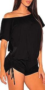 Womenamp;#39;s One Shoulder Solid Summer Jumpsuit