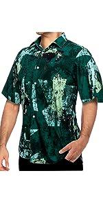 Green Beach Short Sleeve for Men Button Down Casual Shirt