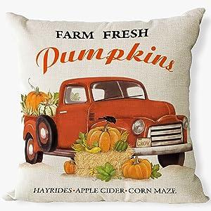pumpkin truck pillow covers 18x 18 set of 4