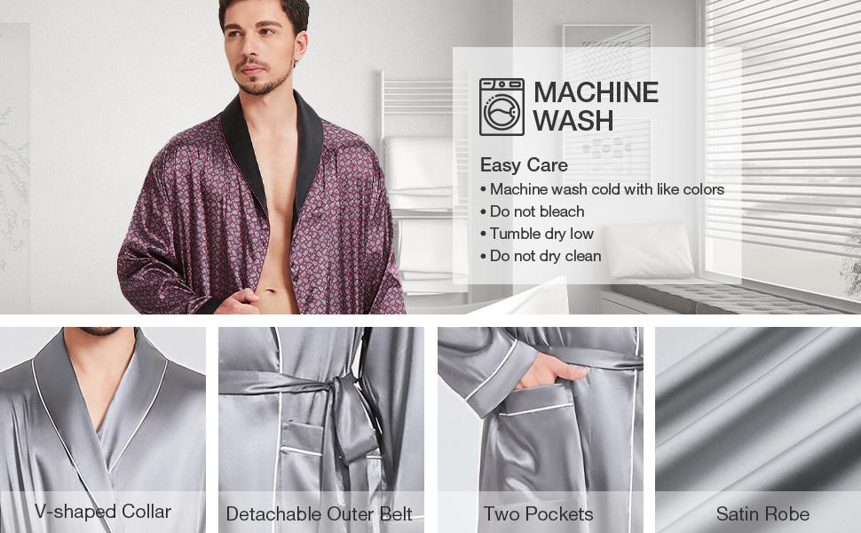 mens bathrobes satin