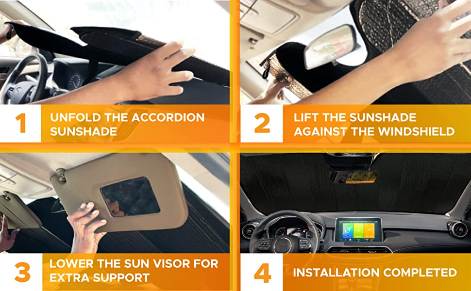 how to install accordion sunshade for car