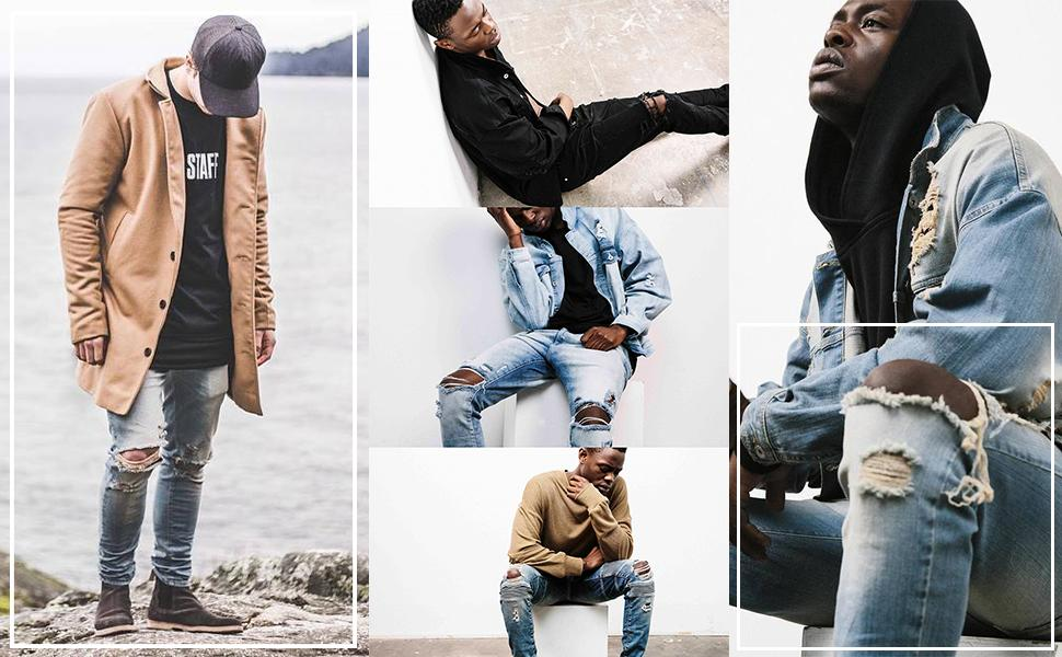 Men's Distressed Jeans Washed Stretchy Tapered Leg with Holes Ripped Jeans