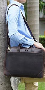 mens leather briefcase brown 15.6 inch laptop shoulder messenger bag attache case business handbag