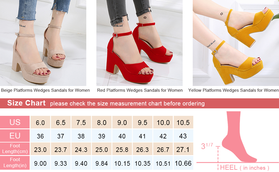 Platforms Wedges,Women's Open Toe Ankle Strap Chunky High Heels Pumps Sandals