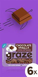 graze chocolate vanilla super oat bakes havermoutrepen | 6 x 53 gram